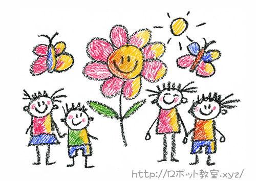 園庭のお花を見ている子供