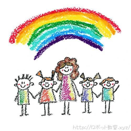 虹と保育士と幼児