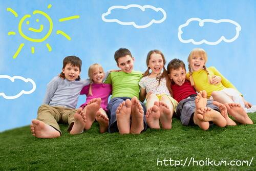 晴天と施設の子供たち