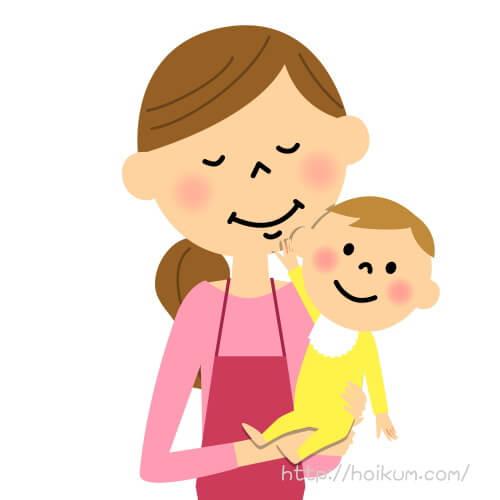 乳幼児を抱くママさん保育士